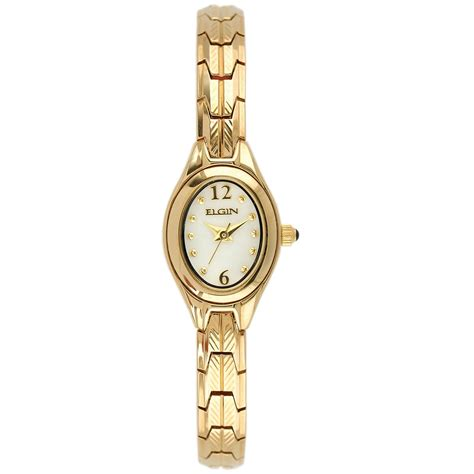 elgin oval gold tone jewelry watches