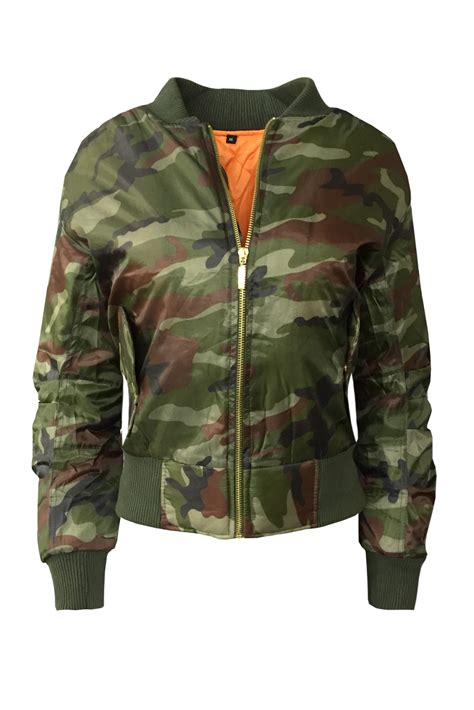 Jaket Bomber Crop Army cexi couture new womens ma1 camouflage print bomber jacket