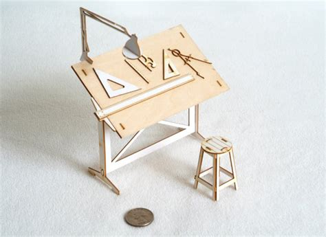 Miniature Drafting Table And Drawing Tools Model Kit Drafting Table Tools