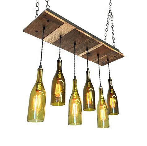 Wine Bottle Light Fixture Chandelier Reclaimed Wood Wine Bottle Chandelier With Edison Bulbs Bottle Wine Bottle Chandelier And