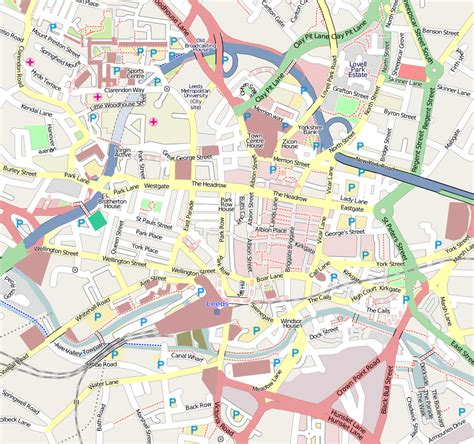 Printable Map Leeds City Centre | map of leeds uk free printable maps