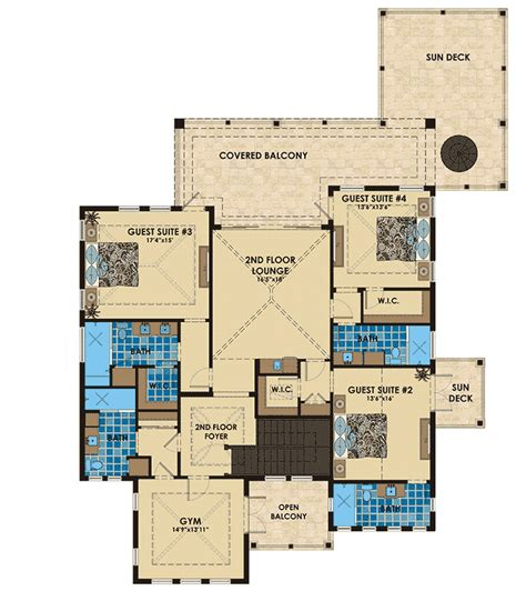 Florida House Plan With Six Bathrooms 31840dn 1st Florida House Plans With Two Master Suites