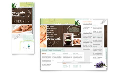 day spa tri fold brochure template word amp publisher