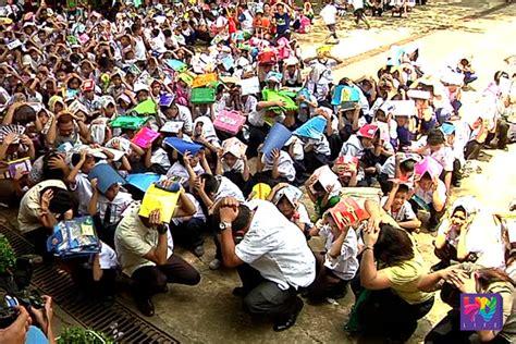 earthquake drill v e fugoso memorial school conducts pre earthquake drill
