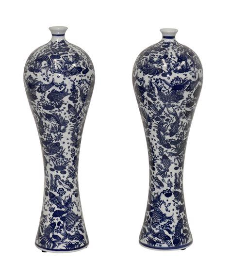 Blue Decorative Vases by Dessau Home Blue White Mei Ping Vase Pair