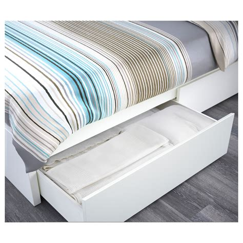 Bed Frame With Storage Ikea Malm Bed Frame With 4 Storage Boxes White Lur 246 Y Standard Ikea