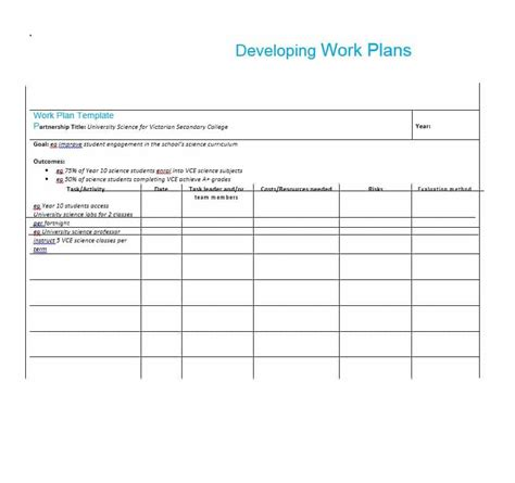 plan templates work plan 40 great templates sles excel word