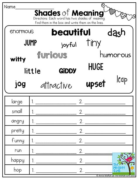 Meaning Words Worksheets 3rd Grade by Shades Of Meaning Tons Of Other Great Printables Wod