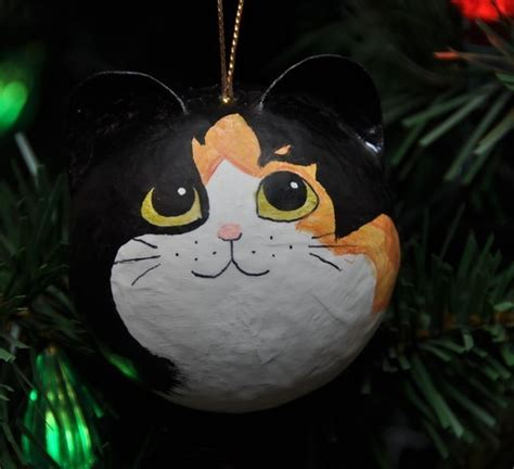 calico fur pattern cat christmas ornament christmas
