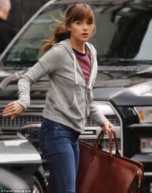 fifty shades darker filming in vancouver dakota johnson in skintight jeans while filming fifty