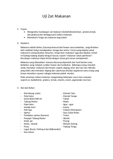contoh biokimia laporan praktikum uji makanan karbohidrat lemak dan