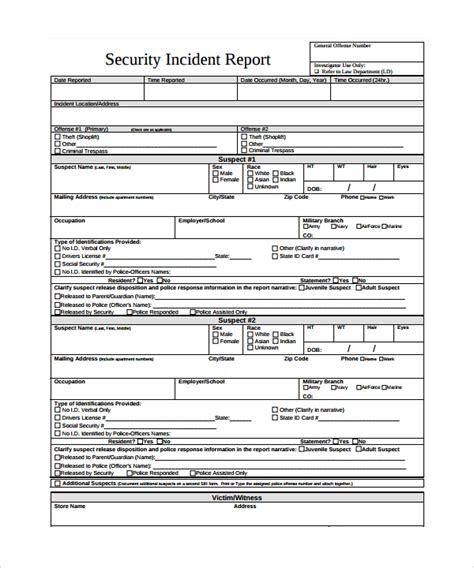 Security Incident Report Template 23 Sle Incident Report Templates Sle Templates