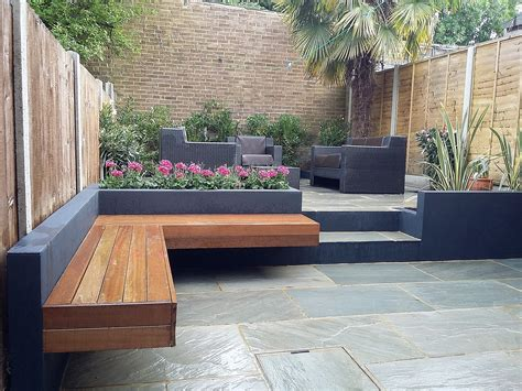 small modern backyard bench archives london garden modern small design paving