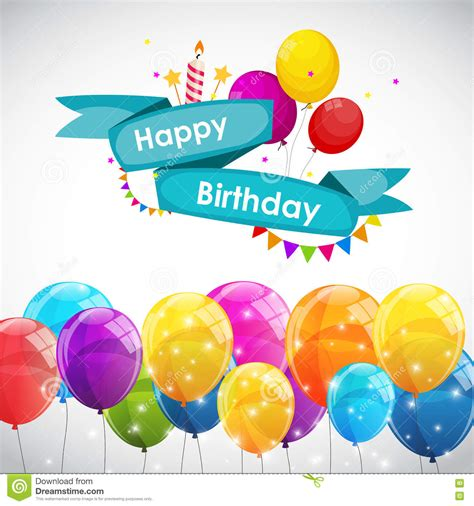 birthday card balloon template happy birthday card template with balloons vector