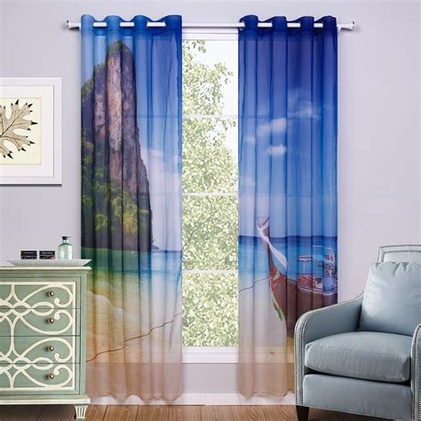 bedroom curtains blue printed scenic window curtain living room blue kids