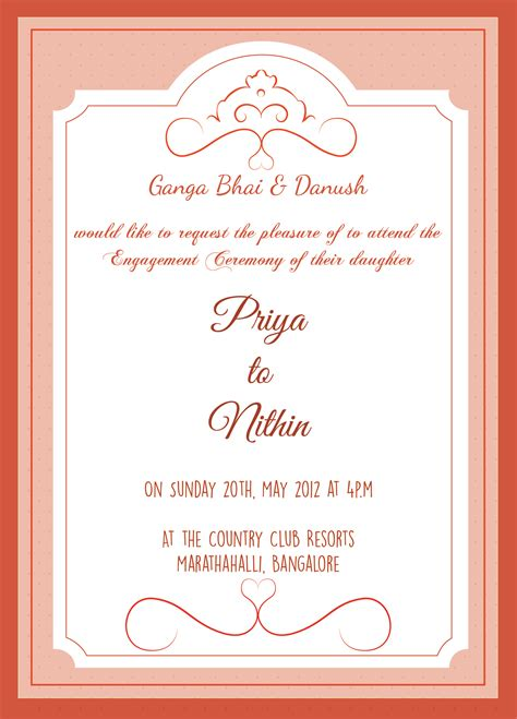 Ceremony Cards Templates by Engagement Ceremony Invitation Card With Wordings Check It