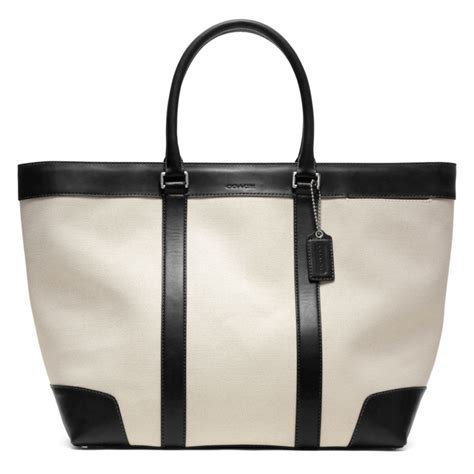 Coach Htons Weekend Patchwork Tote by Lyst Coach Bleecker City Canvas Weekend Tote In Black