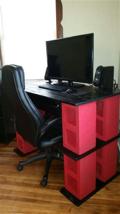 cheap sturdy computer desk diy cinder block computer desk made by my lovely fianc 233
