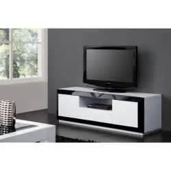 meuble tv design laque noir blanc haute brillance achat