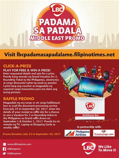 Instan Lbc lbc padama sa padala middle east promo instant prizes and weekly raffle dubai ofw
