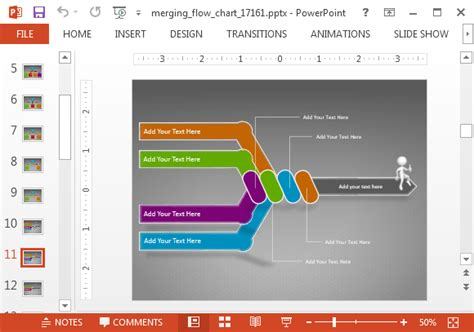 Merging Arrows Animated Flowchart Powerpoint Template Fil A Powerpoint Template