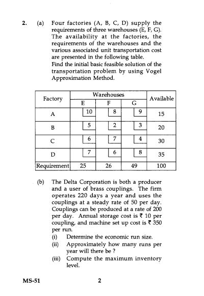 Operation Research Question Paper For Mba by Ignou Ms 51 Operations Research Mba 2015 Question Paper