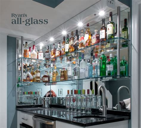 bar mirror with shelves hanging stack bar with glass shelves and mirror wall liquor bar home bar design ideas