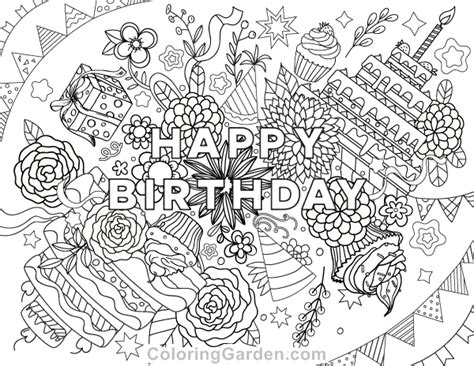 Coloring Pages For Adults Birthday | happy birthday adult coloring page