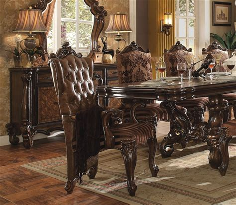 medieve antique oak finish formal 7 piece dining room versailles 7 piece dining set in cherry oak finish by acme