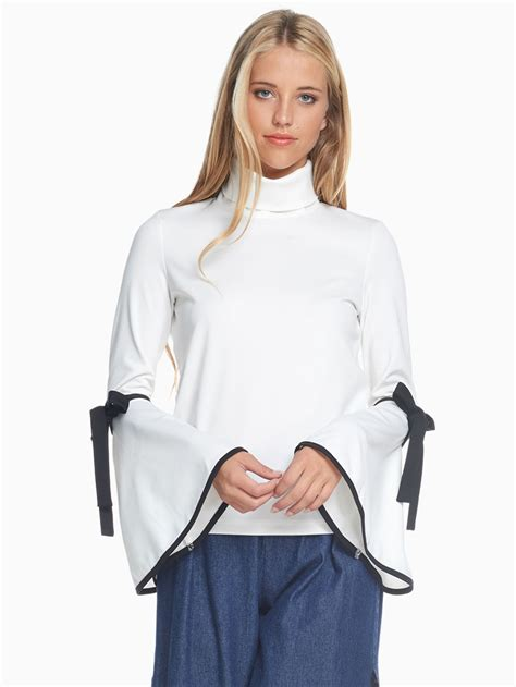 Blouse Turtle tov white trumpet turtle neck blouse modishonline