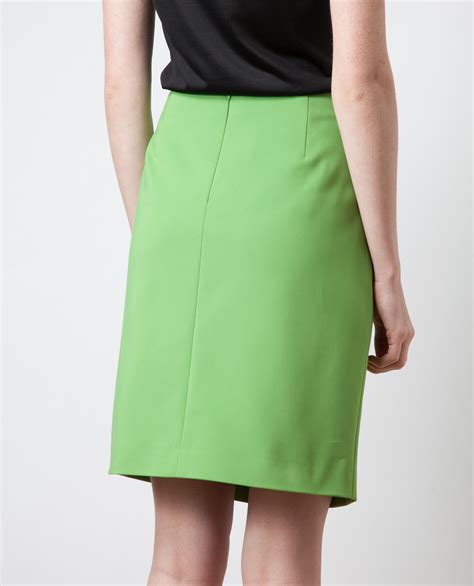 Hels American Eagle Ori lyst akris zip front cotton blend pencil skirt in green