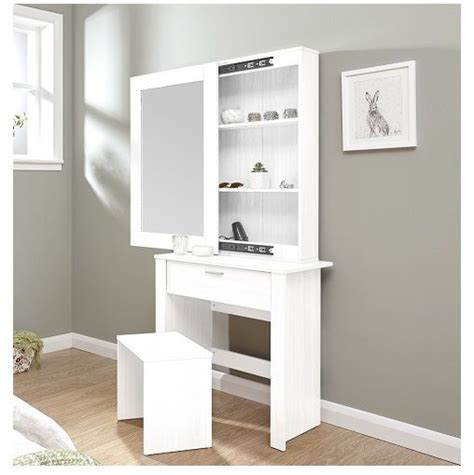 white vanity table and stool modern dressing table sliding mirror stool white vanity