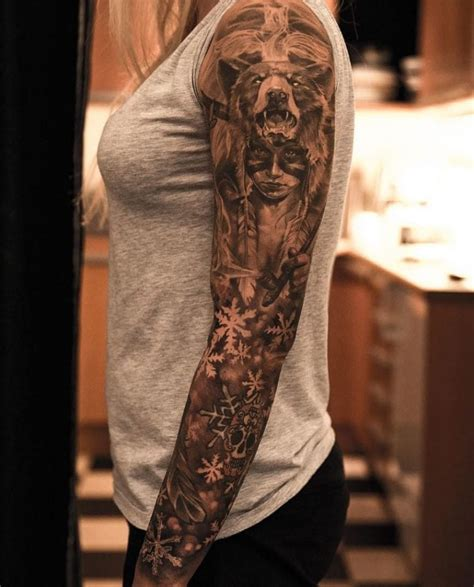 mind blowing bear sleeve tattoo creativefan
