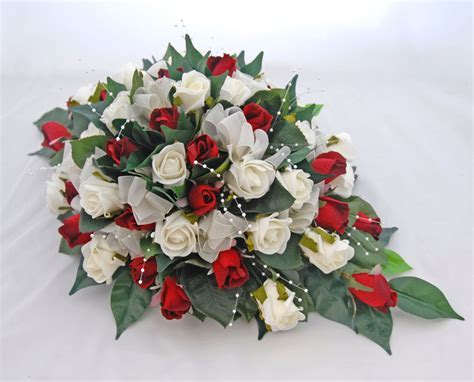 Silk Red & Ivory Foam Rose Top Table Wedding Arrangement