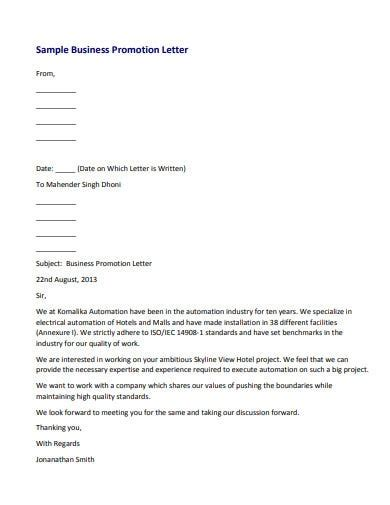 business promotion letter templates word