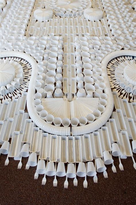 design milk carpet giant carpet made from disposable plastic tableware by we