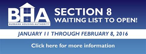 what section 8 waiting list is open burbank housing authority to open section 8 waiting list