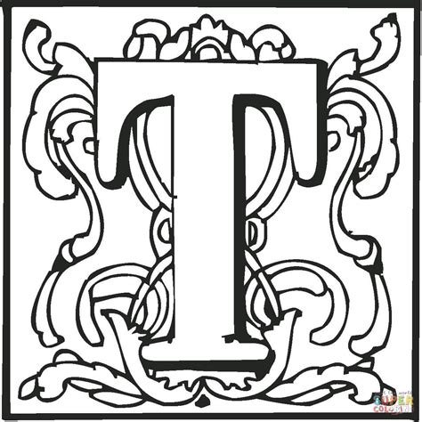 coloring pages with letter t letter t with ornament coloring page free printable