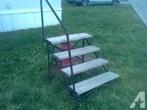 one year mobile home steps wood steel railing