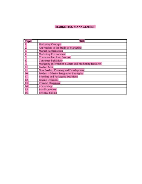 Advertising Mba Notes by Marketing Management Notes Mba