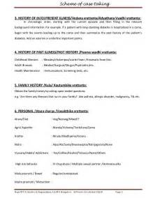 history of present illness template sheet in ayurveda