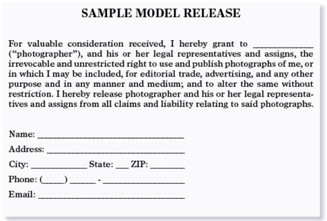 commercial model release copyright what kind of signed statement or writing do i