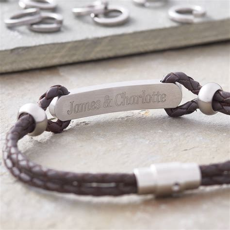 mens leather id bracelets s personalised plaited leather id bracelet by