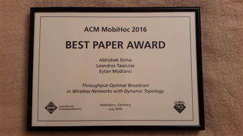 Best Research Paper by Mobihoc 2016 Best Paper Award Communications And Networking Research
