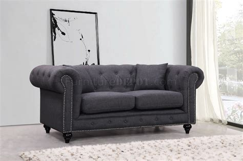 Chesterfield Sofa 662gry In Grey Linen Fabric W Optional Items Grey Linen Chesterfield Sofa