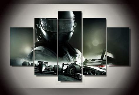 Wholesale Home Decor Suppliers framed printed f1 racing car 5 piece picture painting wall