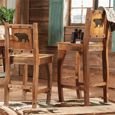 Rustic Wood Bar Stools With Backs by Barnwood Barstools W Carved