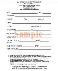wedding dj contract free printable documents