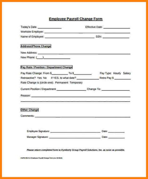 payroll change form template free 8 payroll change form template sles of paystubs