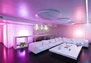 home interior led lights purple living room design
